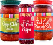 Jillipepper Trio of green chile and red chile salsas with a Hot Fiesta Pepper