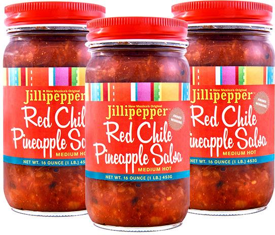Jillipepper Red Chile Pineapple Salsa (Medium Hot) Trio